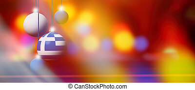 Greece flag on Christmas ball with blurred and abstract background.