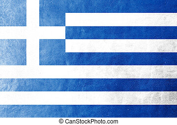 Greece Flag on leather texture