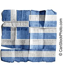 Greece flag on old paper.