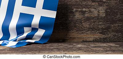 Greece flag on wooden background. 3d illustration