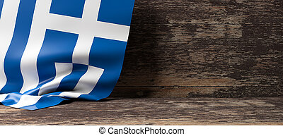 Greece flag on wooden background. 3d illustration