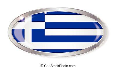 Greece Flag Oval Button