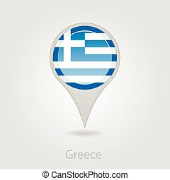 Greece flag pin map icon, vector illustration