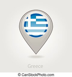 Greece flag pin map icon, vector illustration