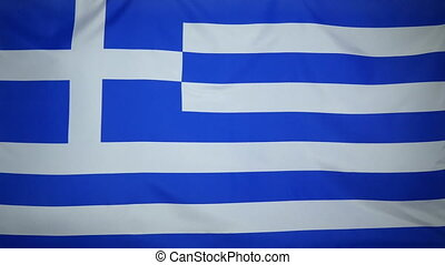 Greece Flag real fabric close up - Textile flag of Greece...