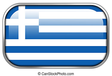 Greece Flag rectangle glossy button