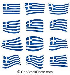 greece flag set illustration art on white background