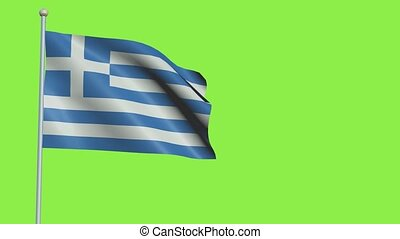 Greece Flag in 3D render with green screen background in Slow Motion