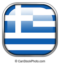 Greece Flag square glossy button