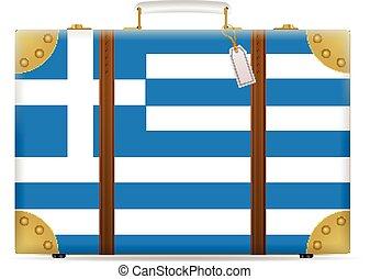Greece flag travel suitcase