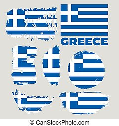 Greece flag, vector illustration on a gray background.