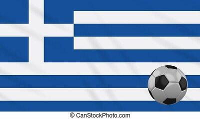 Greece flag waving and football rotates, loop - Greece flag...