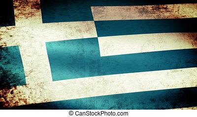 Greece Flag Waving, grunge look