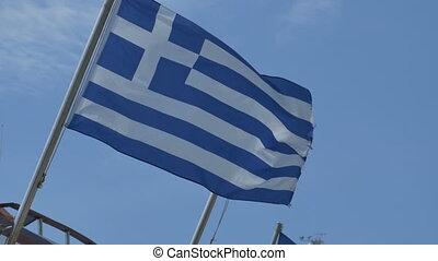 Greece Flag Waving - Greece flag on pole waving in the wind.