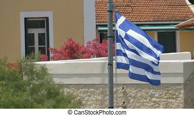 Greece Flag Waving Strongly