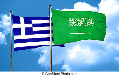Greece flag with Saudi Arabia flag, 3D rendering