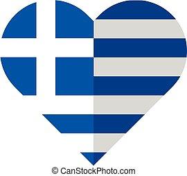 Greece flat heart flag