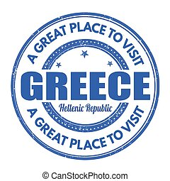 Greece  grunge stamp