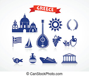 Greece - icon set - Greece - icons and element, vector