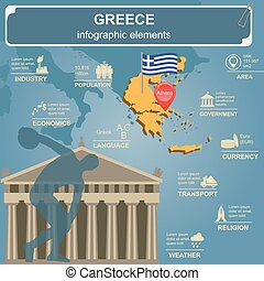Greece infographics, statistical data, sights. Vector...