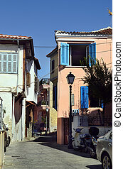 Greece, Kavala, typical small street in Panagia precinct