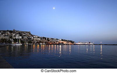 Greece, Kavala - Kavala, Greece - illuminated city around...