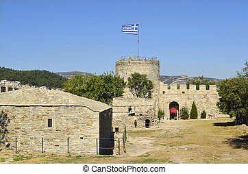 Greece, Kavala - Kavala, Greece - medieval fortress with...