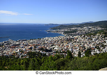 Greece, Kavala, cityscape of the city on aegean sea