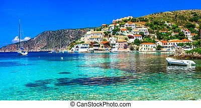 greece., kefalonia, assos, beau, village