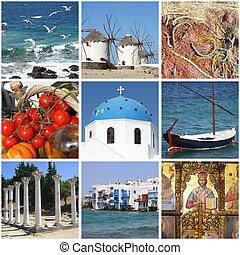 Greece landmarks collage