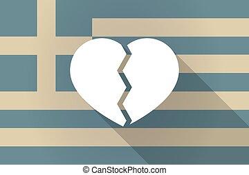 Greece  long shadow flag with a broken heart