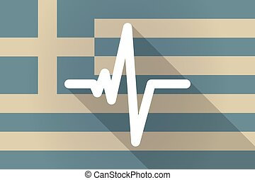 Greece long shadow flag with a heart beat sign
