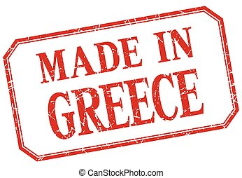 Greece - made in red vintage isolated label