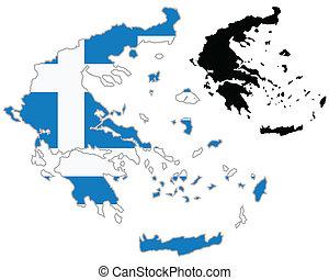 Greece map flag
