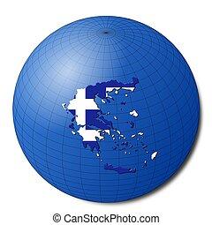 Greece map flag on abstract globe illustration