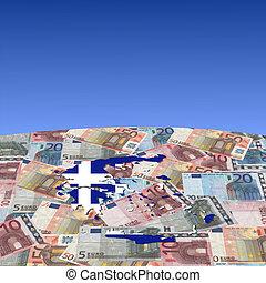 Greece map flag on euros