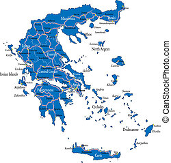 Highly detailed vector map of Greece with main cities, regions and roads.