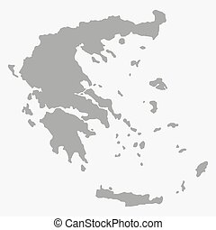 Greece map in gray on a white background