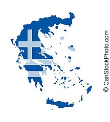 Greece map vector with the greek flag