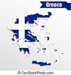 Greece map with flag inside and ribbon