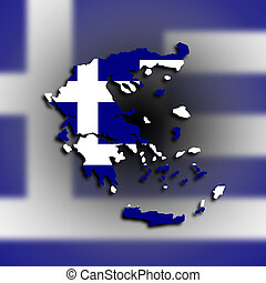 Greece map with the flag inside