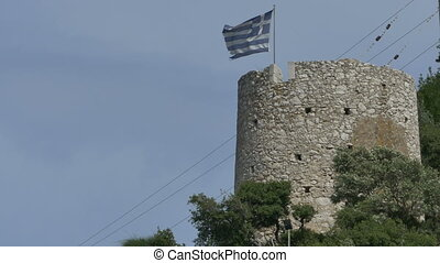 Greece Medieval Tower and Flag