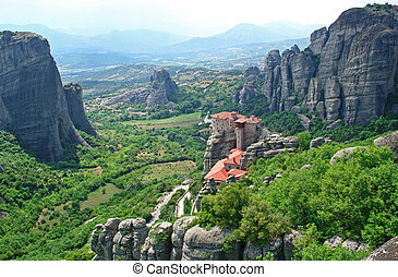 Greece. Meteora. Monasteries in the mountain in spring