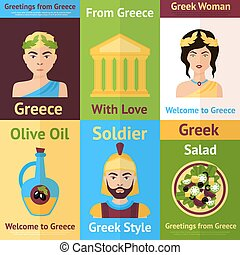 Greece mini poster set