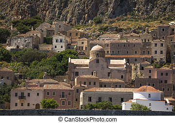 Greece Monemvasia traditional view of stone houses and sights.