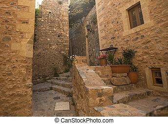 Greece Monemvasia traditional view of stone houses.