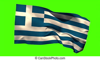 Greece national flag blowing in the wind