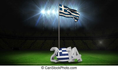 Greece national flag waving on foot