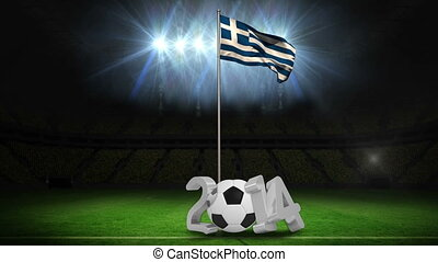 Greece national flag waving on pole with 2014 message on football pitch