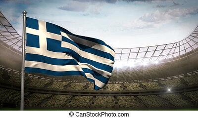 Greece national flag waving on stad